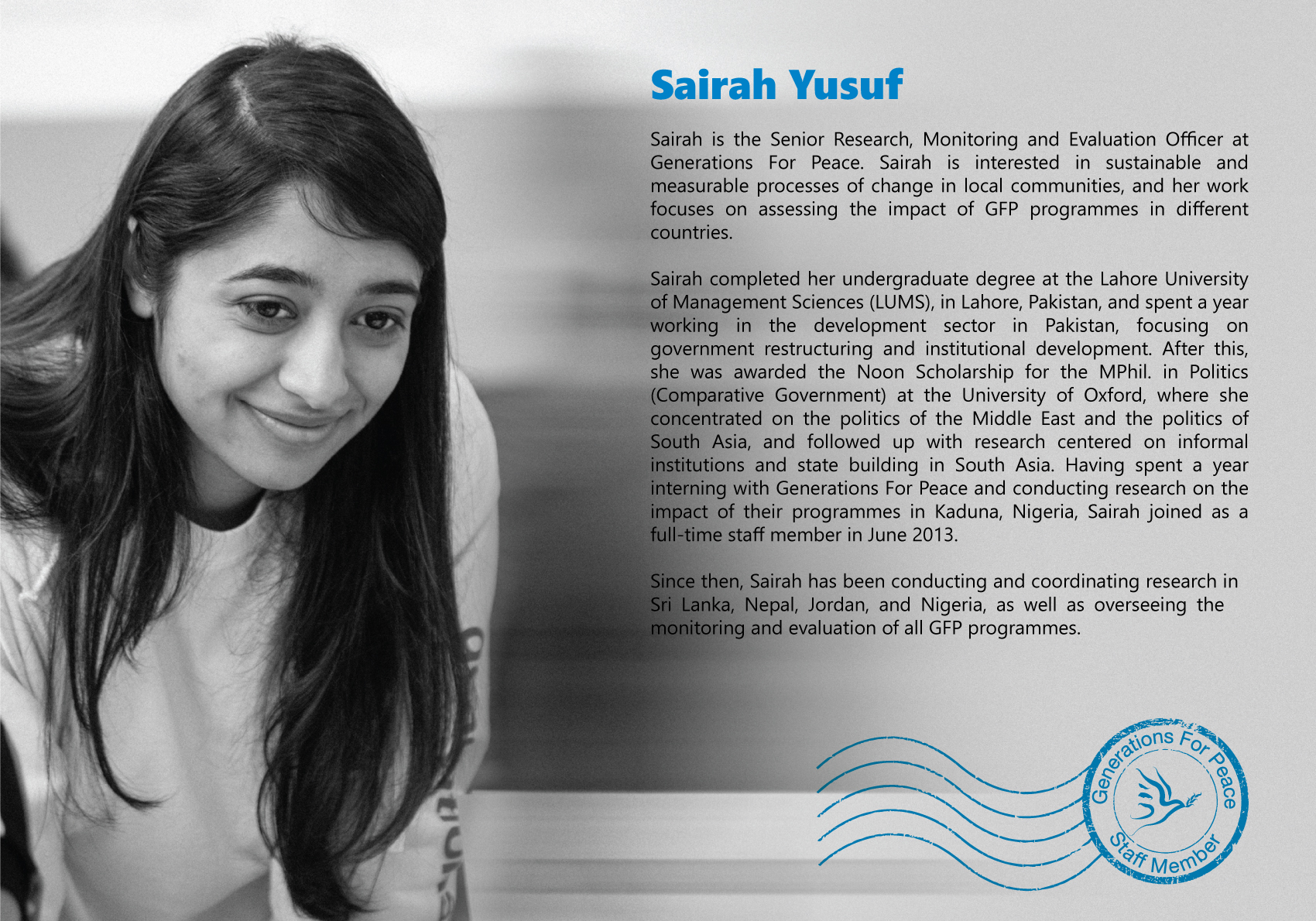 Sairah Yusuf, Monitoring and Evaluation Officer at GFP
