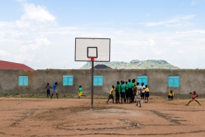 South Sudan, Juba.GFP volunteers preparing field of play